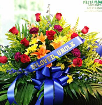 Bright Memorial Basket with Bow FB-517