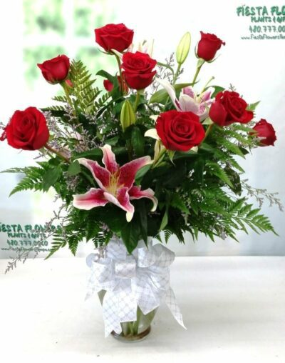 SAME DAY DELIVERY Premium Roses with Stargazer Lilies