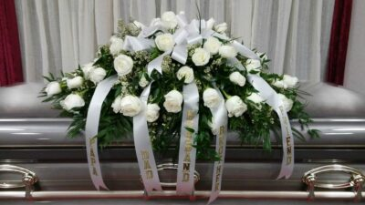 SAME DAY DELIVERY White Casket Tribute