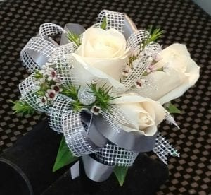White Rose Corsage with Double Ribbon (CB-727)