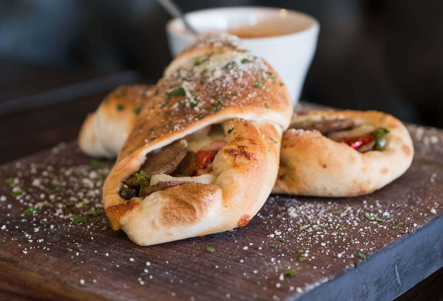 stromboli filled with sausage peppers and onions